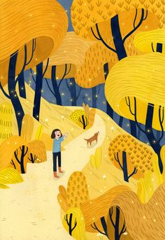 Well, we found what's at the end of a rainbow. Illustration by 🌈💛 . Autumn Illustration, Landscape Illustration, Children's Book Illustration, Digital Illustration, Watercolor Illustration, Illustration For Children, Illustration Mignonne, Posca Art, Guache