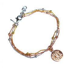 Monogrammed Spark Bracelet - Sterling Silver with Rose Gold Plated Charm