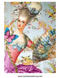 Marie Antoinette Party Digital Collage Sheet por VorontsovaART, $4.80