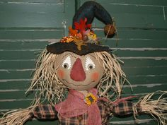 Primitive Fall Scarecrow on Pumpkin with crow by PrimitiveArtDolls, $80.00