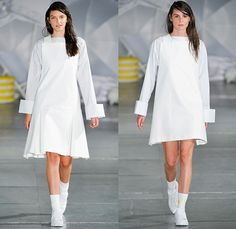 Jacquemus 2015 Spring Summer Womens Runway Catwalk Looks - Mode à Paris Fashion Week Prêt-à-Porter Mode Féminin Femme France - White Ensemble Pinafore Dress Blouse Carrot White Jeans Long Shirt Outerwear Coat Pinstripes Shirtdress Blousedress Slouchy Cinch Paper Bag Waist Swim Bikini Combo Panel Skirt Frock Asymmetrical Angular Handkerchief Hem Stripes Banded Strap One Off Shoulder Spaghetti Noodle Strap Shawl Halter Top