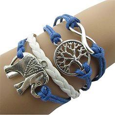 Bestpriceam Handmade Charms Tree Elephant Knit Leather Rope Chain Bracelet