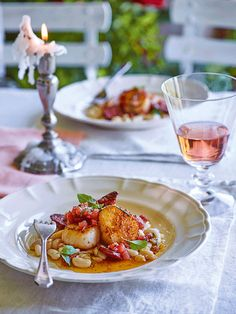 Seared scallops and chorizo with a tomato and vanilla dressing www.ianwallacephotographer.com www.afoodstylistsblog.com