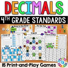 4th Grade Math Centers: 4th Grade Decimals Games {4.NF.5,