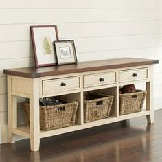 Features: -Inspired by traditional mission designs. -Framed doors with window pane moldings. -Solid hardwood and wood veneer construction. Bench Type: -Entryway bench. Seat Material: -Fabric. Pa