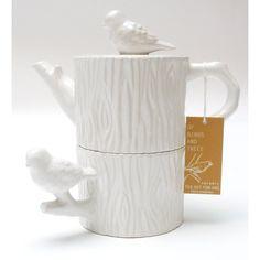 Two's Company Chickadee Tea for One Set (birds & tree trunk)