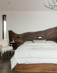 Bedroom with Natural Wood Slab Headboard