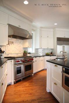 Suzie: M. E. Beck Design - Lovely kitchen design with creamy white kitchen cabinets & kitchen ...
