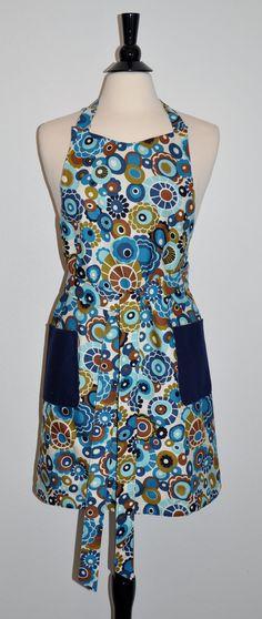 Blue Apron With Artsy Flowers, Reversible Apron, Handmade Apron, Unique  Apron Part 72
