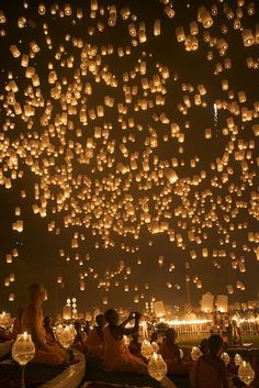 Floating lanterns for a wedding send off.