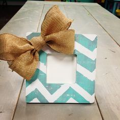 Distressed Chevron Frame with Sparkly Burlap Bow