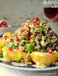 Festive quinoa salad with orange, walnuts and pomegranate Quinoa Salad, Pasta Salad, Cobb Salad, Orange Salad, Pomegranate, Macaroni And Cheese, Salads, Veggies, Vegan