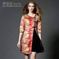 2015 fall and winter clothes new female temperament retro suede split large size Slim improved cheongsam dress New Year