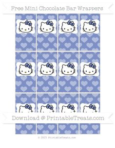 Free Pastel Dark Blue Heart Pattern Hello Kitty Mini Chocolate Bar Wrappers