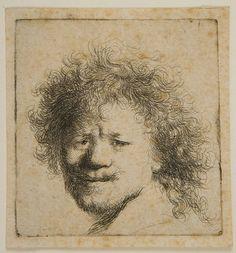 Rembrandt Harmensz van Rijn Dutch (Leiden 1606 - 1669 Amsterdam) Self-Portrait, with Frizzled Hair, Etching plate: 6.4 x 6 cm   Harvard Art Museums