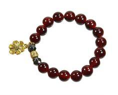 Beaded Stretch Bracelet Burgundy Dark Red by CoralsJewelry on Etsy