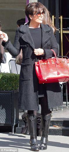 Kris Jenner looking very sophisticated in Hermes in Paris