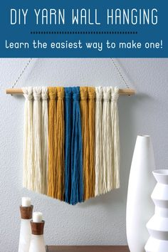 If you love budget friendly decor, this is your project. Learn how to make this unique yarn wall hanging with a stick and some cute colors of yarn. Easy Diy Crafts, Diy Crafts For Kids, Crafts To Sell, Fun Crafts, Cool Diy Projects, Yarn Projects, Yarn Wall Hanging, Creative Inspiration, Creative Ideas