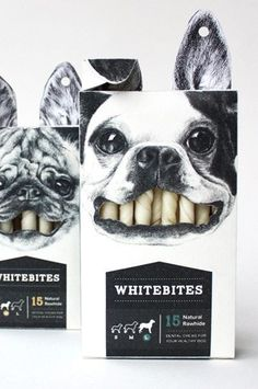 This packaging design is amazing to me. It's already fun to look at and catches your eye, but how it's able to use the product as a part of it's display is just clever. The black and white colors are also nice. I feel too much color would have made the ov Dog Treat Packaging, Cool Packaging, Food Packaging Design, Packaging Design Inspiration, Coffee Packaging, Bottle Packaging, Product Packaging Design, Product Design, Candy Packaging