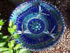 blue and turquoise dragonfly birdbath