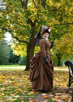 1884 Victorian bustle walking dress in wool, french bonnet in silk. Prior Attire www.facebook.com/pages/Prior-Attire/140313531692