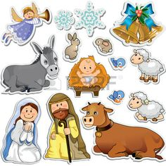 Set of Christmas stickers representing the characters of the holy family-Gradient mask-Eps10
