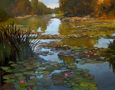 Lilies On The Creek - Giclee Art PRINT of Original Painting matted 16x20 by Jan Schmuckal. $65.00, via Etsy.