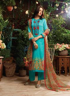 We unfurl our the intricacy and exclusivity of our creations highlighted with this pleasing colour} cotton satin designer straight salwar kameez. The embroidered and print work personifies the overall look