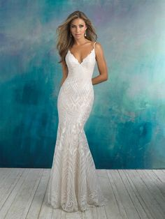 Fitted Wedding Dress from Fantasy Bridal. Fitted, geometric lace, spaghetti straps low back, allure bridal Bridal Wedding Dresses, Wedding Dress Styles, Bridesmaid Dresses, Prom Dresses, Pageant Gowns, Dresses 2014, Bridal Style, Boutique Fashion, Fit And Flare Wedding Dress