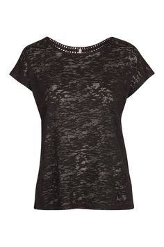 T-shirt flammé dos au crochet noir Naf Naf