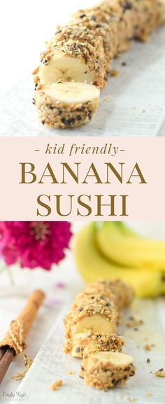 This easy Banana Sushi is a fun, kid friendly treat is a nutritious and delicious way to get your little one involved in the kitchen & learning how to cook. Quick Healthy Snacks, Healthy Snacks For Kids, Healthy Desserts, Healthy Cooking, Kid Snacks, Healthy Recipes, School Snacks, Healthy Foods, Free Recipes