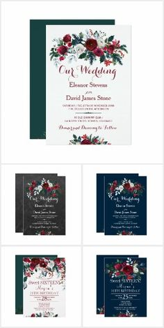 Stylish wedding party invitations with beautiful whimsical red