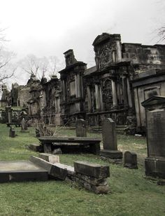 Greyfriars Cemetery Edinburgh  Look graves with names Riddle and McGonagall from Harry Potter, plus a view of George Heriot's School that looks like Hogwarts