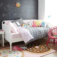 beautiful daybed cover IKEA with cute cushions