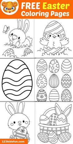 We have Free Easter Coloring Pages for Kids with Easter Egg, Easter Bunny, Easter Chick, Easter Basket. Kids will have lots of fun! Easter Eggs Kids, Easter Egg Crafts, Easter Art, Easter Bunny Template, Easter Templates, Bunny Templates, Free Easter Coloring Pages, Easter Bunny Colouring, Coloring Pages For Teenagers
