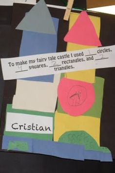 Cinderella Shape Castle and Writing Prompt-This would be a good math activity to use with blocks as well.