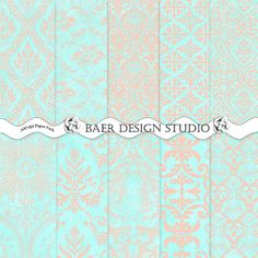 Hey, I found this really awesome Etsy listing at https://www.etsy.com/listing/166792244/blue-and-coral-damask-digital-paper