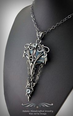 """""""Arya -- Once Upon a Time"""". Chrysocolla Pendant Necklace in .999 Fine Silver Antiqued Finish w/ two Faceted Sky Blue Topaz gemstones (2.0 ct tgw) by Daryl Adams of Adams Handcrafted Jewelry. **Currently Available**"""