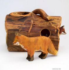 Wooden Fox for Nature Display or Woodland Play by willodel on Etsy