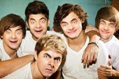 Popular boy band - Funny picture of a boy band where every member has Mr. Bean's face. Bean face swap.