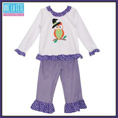 NEW ARRIVAL! Owl Applique Girls Pant Set!
