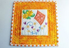 Patchwork quilted and embroidered mug rug by StephsQuilts on Etsy