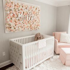 Girl Nursery Ideas - Bring your child girl home to a lovable and functional nursery. Right here are some infant girl nursery design ideas for all of your decoration, bedding, and furnishings . Baby Boy Nursery Room Ideas, Project Nursery, Baby Bedroom, Baby Room Decor, Girls Bedroom, Baby Rooms, Baby Room Ideas For Girls, Girls Flower Bedroom, Girl Decor