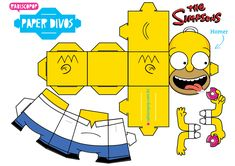 Homer Simpson e Donut 3d Paper Crafts, Foam Crafts, Paper Toys, Diy Paper, Paper Gifts, Homer Simpson, Simpsons Party, Origami Paper, Origami Lamp