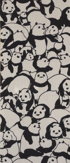Tenugui Japanese Fabric 'Pile of Pandas' w/Free by kyotocollection, $16.00