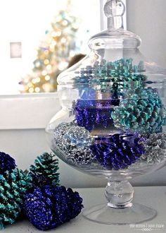 25 Hanukkah Decorations That Go Beyond the Traditional Menorah - Country/Christmas wedding , Pine Cone Crafts, Christmas Projects, Holiday Crafts, Holiday Fun, Pinecone Christmas Crafts, Festive, Winter Christmas, All Things Christmas, Christmas Holidays