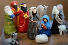 Complete Nativity Set, Needle felted, Traditional, Waldorf, includes 10 pieces, Holy Family, Jesus, Mary Joseph, Shepherd, Sheep, Wise Men