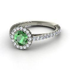 Raquel Ring, Round Emerald Platinum Ring with Diamond from Gemvara