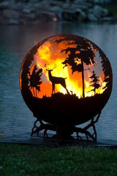 Up North Custom Steel Outdoor Fire Pit - Minnesota Themed Sphere Artistic Fire Ball - The Fire Pit Gallery Fire Pit Sphere, Fire Pit Globe, Fire Pit Ball, Steel Fire Pit, Fire Pits, Fire Pit Gallery, Custom Fire Pit, Custom Metal, Fire Bowls