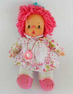 Vintage rare collectible doll El Greco 80's , Christmas gift, Retro Doll Vintage Dolls, Retro Vintage, 1980s Toys, Pink Floral Dress, Freckles, Pink Hair, Time Travel, Valentine Gifts, Greek
